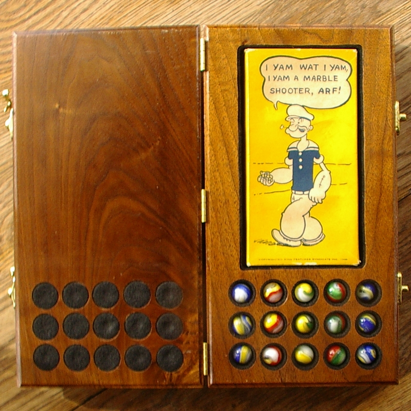 Gm1012 Akro Agate No 116 Yellow Popeye Box And Marbles